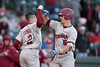 Center fielder TJ Hopkins (5) of the South Carolina Gamecocks is greeted by Noah Campbell (2) after hitting a home run in the fifth inning of a game against the Furman Paladins on Tuesday, March 19, 2019, at Fluor Field at the West End in Greenville, South Carolina. South Carolina won, 12-7. (Tom Priddy/Four Seam Images)