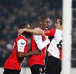 Nederland, Rotterdam, 31 maart 2012.Eredivisie.Seizoen 2011-2012.Feyenoord-NAC Breda.Otman Bakkal (r.) van Feyenoord juicht nadat hij de 1-0 heeft gescoord. (m.) Sekou Cisse van Feyenoord en Kelvin Leerdam van Feyenoord