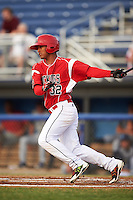 Batavia Muckdogs left fielder Jhonny Santos (32) at bat during a game against the Brooklyn Cyclones on July 6, 2016 at Dwyer Stadium in Batavia, New York.  Batavia defeated Brooklyn 15-2.  (Mike Janes/Four Seam Images)