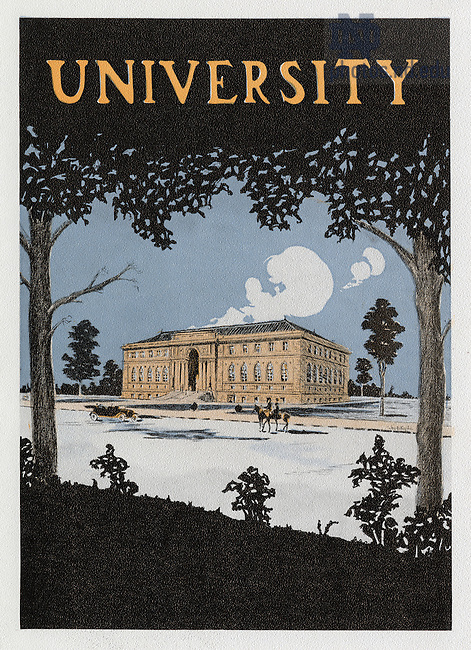 Dome yearbook 1916, page 9:  Drawing of Lemonnier Library (Bond Hall) in winter with snow..Drawing by Joseph Patrick Flynn..Image from the University of Notre Dame Archives.