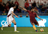 Calcio, Serie A: Roma, stadio Olimpico, 19 febbraio 2017.<br /> Roma&rsquo;s Mohamed Salah (r) in action with Torino's Emiliano Moretti (l) during the Italian Serie A football match between As Roma and Torino at Rome's Olympic stadium, on February 19, 2017.<br /> UPDATE IMAGES PRESS/Isabella Bonotto