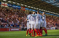 Celebrations as Lewis Baker (Vitesse Arnhem, loan from Chelsea) of England scores to make it 6-1 during the International EURO U21 QUALIFYING - GROUP 9 match between England U21 and Norway U21 at the Weston Homes Community Stadium, Colchester, England on 6 September 2016. Photo by Andy Rowland / PRiME Media Images.