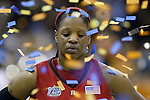 2007 NCAA WOMENS BASKETBALL NATIONAL CHAMPIONSHIP.RUTGERS VS TENNESSEE.QUICKEN LOANS ARENA.CLEVELAND, OHIO.Confetti flies around Kia Vaughn as Tennessee celebrates their win over Rutgers..SPORTS.43141.<br />