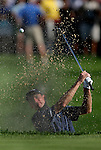 7 September 2008:     Jim Furyk, who tied for third, hits out of the bunker on the 18th hole in the fourth and final round of play at the BMW Golf Championship at Bellerive Country Club in Town & Country, Missouri, a suburb of St. Louis, Missouri on Sunday September 7, 2008. The BMW Championship is the third event of the PGA's  Fed Ex Cup Tour.