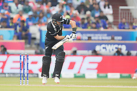 Ross Taylor (New Zealand) pushes into the on side during India vs New Zealand, ICC World Cup Semi-Final Cricket at Old Trafford on 9th July 2019