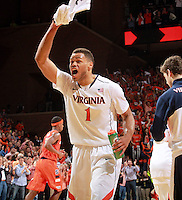 Virginia guard Justin Anderson (1) reacts to a play during an NCAA basketball game Saturday March 1, 2014 in Charlottesville, VA. Virginia defeated Syracuse 75-56.