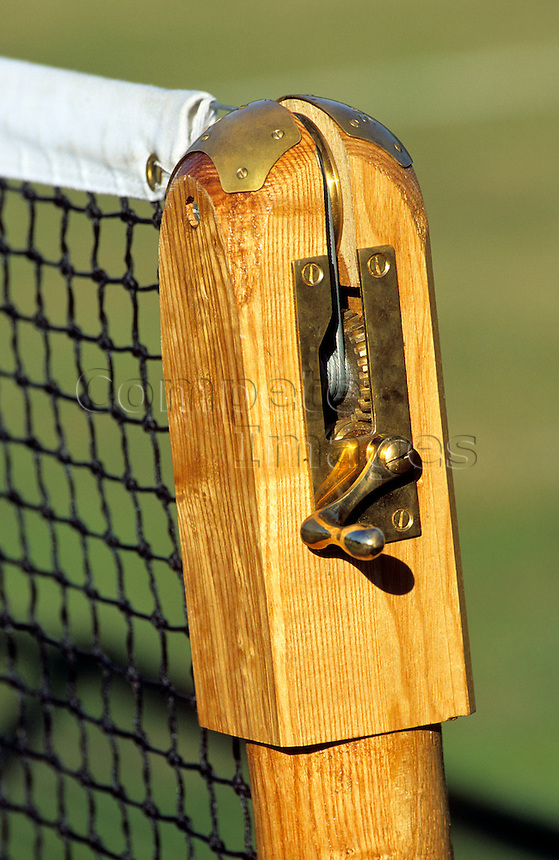 Close up of the post of a tennis net