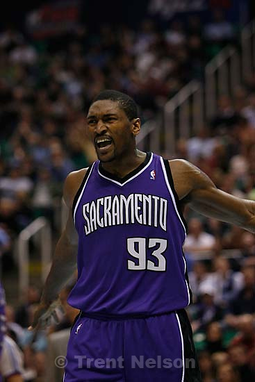 Salt Lake City - Utah Jazz vs. Sacramento Kings, NBA basketball, Friday, January 25, 2008 at EnergySolutions Arena; 1.25.2008 Sacramento Kings guard Ron Artest (93) is ejected from the game with his second technical foul