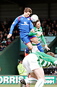 Luke Freeman of Stevenage wins a header. - Yeovil Town v Stevenage - npower League 1 - Huish Park, Yeovil - 14th April, 2012 . © Kevin Coleman 2012..