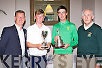 Rory Hill Tralee  the winner of the Munster u17 and Tommy O'Driscoll Ring of Kerry the Ulster Boys Championship winner were presented with their trophies at the Kerry Junior golf awards in Killarney Golf and Fishing club on Tuesday l-r:   Mike Daly, Rory Hill, Tommy Driscoll and
