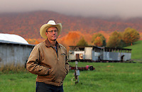 Joel Salatin poses at his Polyface Farm where he raises chickens and cows October 20, 2006 in Staunton, Va. ...Photo by Andrew B. Shurtleff.