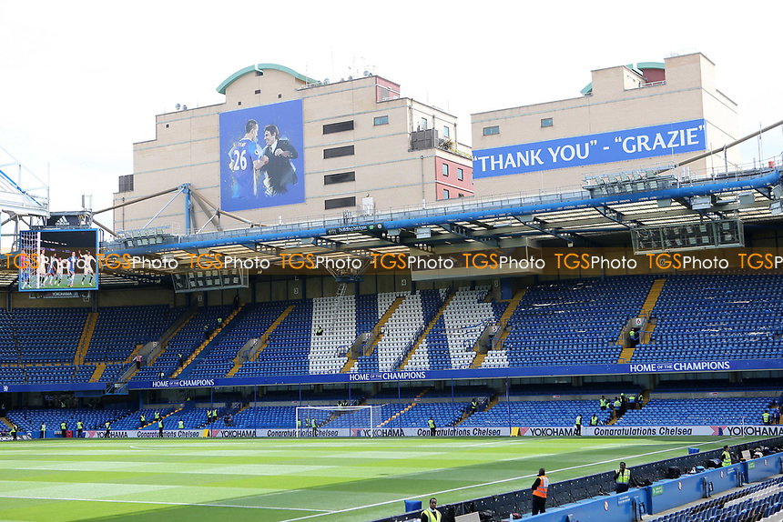 A message to John Terry 'Thank You Grazie' from Chelsea Manager, Antonio Conte, on the buildings outside the ground surrounding  Stamford Bridge during Chelsea vs Sunderland AFC, Premier League Football at Stamford Bridge on 21st May 2017