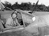 "Richard Ira Bong, America's ""Ace of Aces"" in World War 2 was born in September, 1920, the son of a Swedish immigrant in Superior, Wisconsin.  In September, 1942, Bong was one of the pilots tasked to join the 49th Fighter Group. Bong was assigned to the 9th Fighter Squadron, the ""Flying Knights,"" and was sent to Australia. While waiting for P-38s to be delivered, he flew with the 39th FS of the 35th FG, operating out of Port Moresby, New Guinea. On December 27, 1942, while flying with the 35th, Bong scored his first aerial victories, a Zero and an Oscar, and earned a Silver Star.  Bong began shooting down Japanese planes at a rapid rate. After his 27th victory, General George Kenney took him out of action and promoted him to major.   In September, 1944 he returned to the Pacific as a gunnery training officer, but he voluntarily flew 30 more combat missions over Borneo and the Philippine Islands, destroying more enemy aircraft.  After Bong scored his 40th victory, he was sent home. He was America's ""Ace of Aces,"" with 40 aerial victories, 200 combat missions and more than 500 combat hours behind him. Among his many medals were the Distinguished Service Cross, seven Distinguished Flying Crosses, two Silver Stars and 15 Air Medals.  On August 6, 1945, Bong stepped into an airplane for the last time.  His P-80 malfunctioned just after take-off, and while he bailed out, he was too close to the ground. After surviving two years of combat flying, Bong died on a routine acceptance flight..Credit: U.S. Air Force via CNP"