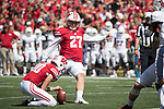 Wisconsin Badgers kicker Rafael Gaglianone (27) kicks the ball during an NCAA College Football game against the Florida Atlantic Owls Saturday, September 9, 2017, in Madison, Wis. The Badgers won 31-14. (Photo by David Stluka)