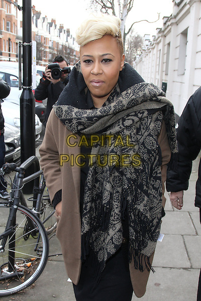 Emeli Sande at the BBC Live Lounge, Maida Vale, London, England..February 14th, 2012.half length beige coat grey gray scarf print pattern black.CAP/HIL.©John Hillcoat/Capital Pictures .