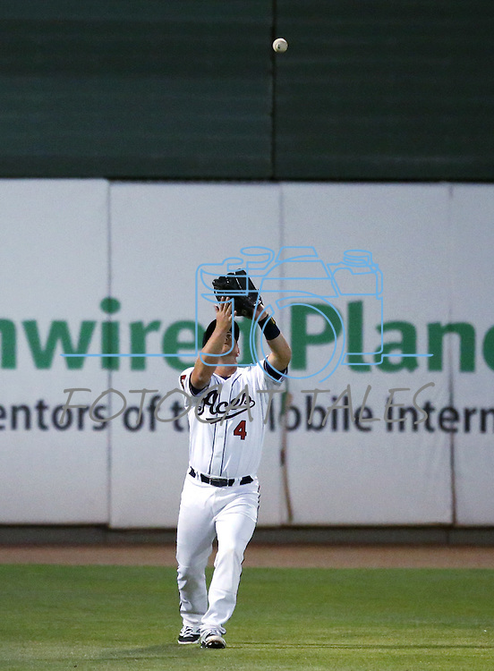 Reno Aces' Garrett Weber makes a play against the Albuquerque Isotopes in Reno, Nev., on Saturday, April 18, 2015. The Isotopes won 9-4. <br /> Photo by Cathleen Allison