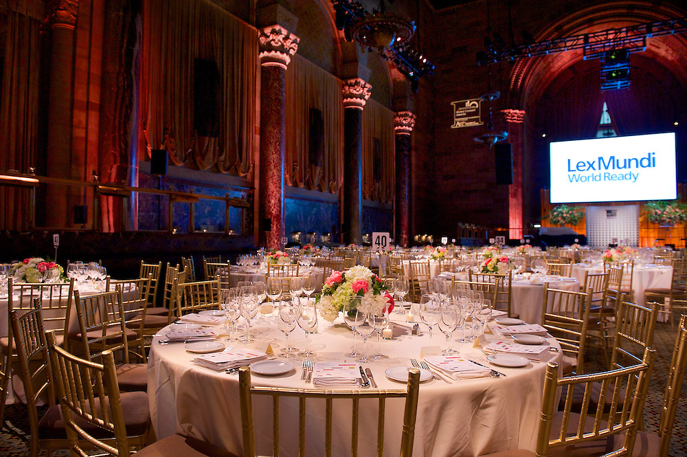 The room set for a black tie dinner at Cipriani 42nd Street