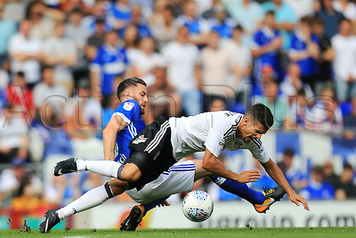 26th August 2017, Portman Road, Ipswich, England; EFL Championship football, Ipswich versus Fulham; Cole Skuse of Ipswich Town fouls Rui Fonte of Fulham