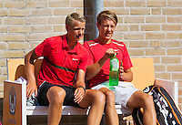 August 9, 2014, Netherlands, Rotterdam, TV Victoria, Tennis, National Junior Championships, NJK,  Final boys 16 years doubles: Siem Fenne(R) and Tom Moonen (NED)<br /> Photo: Tennisimages/Henk Koster