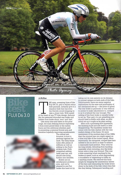 Photo of a new Fuji time trial bike. Published in Cycling Weekly on 29/09/2011.