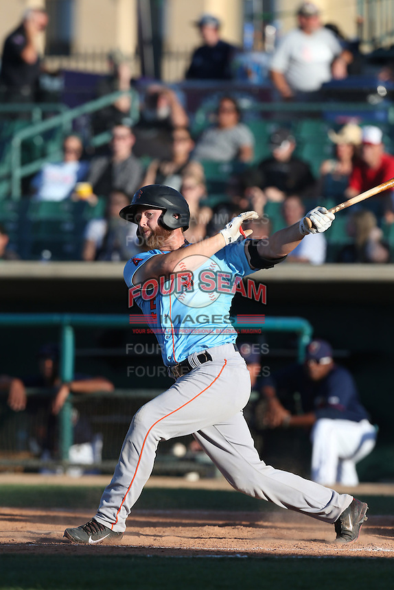 Zach Wright #5 of the Inland Empire 66ers bats against the Lancaster JetHawks at The Hanger on May 26, 2014 in Lancaster, California. Lancaster defeated Inland Empire, 6-5. (Larry Goren/Four Seam Images)