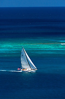 Catching the wind<br /> Sailboat near St. John<br /> US Virgin Islands<br /> Caribbean