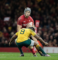 Wales' Jonathan Davies is tackled by Australia's Will Genia<br /> <br /> Photographer Simon King/CameraSport<br /> <br /> International Rugby Union - 2017 Under Armour Series Autumn Internationals - Wales v Australia - Saturday 11th November 2017 - Principality Stadium - Cardiff<br /> <br /> World Copyright &copy; 2017 CameraSport. All rights reserved. 43 Linden Ave. Countesthorpe. Leicester. England. LE8 5PG - Tel: +44 (0) 116 277 4147 - admin@camerasport.com - www.camerasport.com