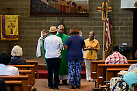 USA Chicago, South Side, afroamerican parish of St. Elizabeth Church, founded in 1881 is the oldest African American Catholic Institution in the Archdiocese of Chicago, sunday holy mass / afroamerikanische Gemeinde der katholischen Kirche St. Elizabeth, heilige Messe