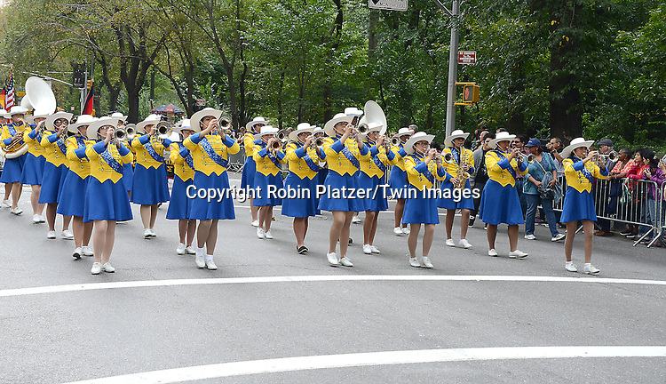 Cathedral Hight School Manhattan Band march in the Steuben Parade on Fifth Avenue in New York City on September 20. 2014.<br /> <br /> photo by Robin Platzer/Twin Images<br />  <br /> phone number 212-935-0770