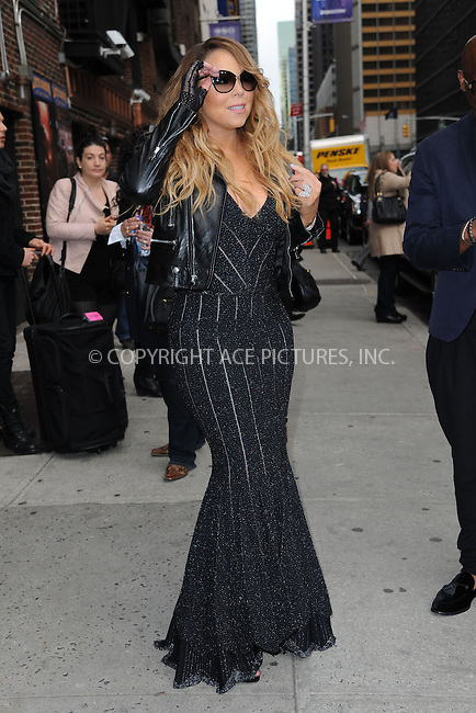 WWW.ACEPIXS.COM <br /> May 7, 2014 New York City<br /> <br /> Mariah Carey after taping an appearance on the Late Show with David Letterman on May 7, 2014 in New York City.<br /> <br /> Please byline: Kristin Callahan  <br /> <br /> ACEPIXS.COM<br /> Ace Pictures, Inc<br /> tel: (212) 243 8787 or (646) 769 0430<br /> e-mail: info@acepixs.com<br /> web: http://www.acepixs.com
