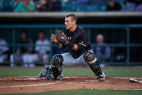 Visalia Rawhide catcher Daulton Varsho (9) prepares for a play at home plate during a California League game against the Lancaster JetHawks at The Hangar on May 17, 2018 in Lancaster, California. Lancaster defeated Visalia 11-9. (Zachary Lucy/Four Seam Images)