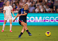 5th March 2020, Orlando, Florida, USA;  the United States midfielder Lindsey Horan (9) shoots on goal during the Women's SheBelieves Cup soccer match between the USA and England on March 5, 2020 at Exploria Stadium in Orlando, FL.