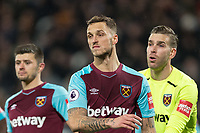 Marko Arnautovic of West Ham United & Goalkeeper Adrian of West Ham United during the Premier League match between West Ham United and Arsenal at the Olympic Park, London, England on 13 December 2017. Photo by Andy Rowland.