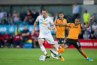 Curtis Weston of Barnet and Gylfi Sigurosson of Swansea City during the 2017/18 Pre Season Friendly match between Barnet and Swansea City at The Hive, London, England on 12 July 2017. Photo by Andy Rowland.