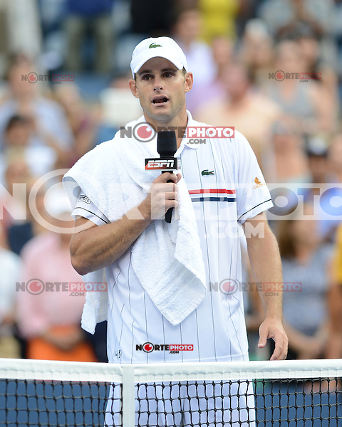 FLUSHING NY- SEPTEMBER 5: Andy Roddick reacts after losing his last match to Juan Martin Del Potro on Armstrong stadium at the USTA Billie Jean King National Tennis Center on September 5, 2012 in in Flushing Queens. Credit: mpi04/MediaPunch Inc. ***NO NY NEWSPAPERS*** /NortePhoto.com<br /> <br /> **CREDITO*OBLIGATORIO** *No*Venta*A*Terceros*<br /> *No*Sale*So*third* ***No*Se*Permite*Hacer...<br /> more »