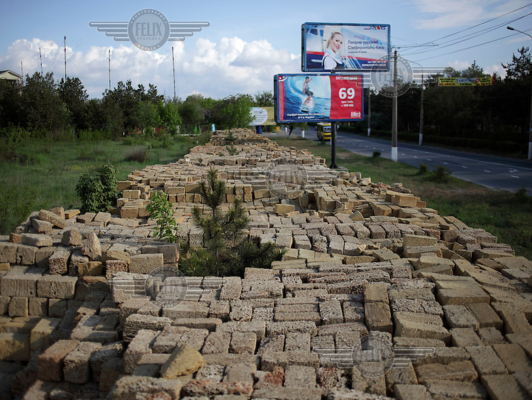 Blocks on the side of a road which will be used to construct a mosque in Simferopol.