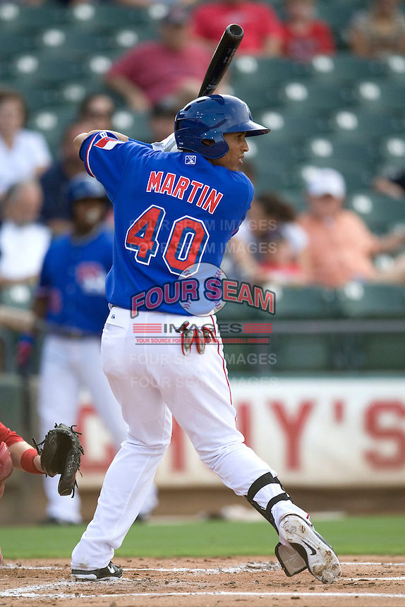 Round Rock Express outfielder Leonys Martin #40 at bat during the game against the Memphis Redbirds at the Dell Diamond on July 10, 2011in Round Rock, Texas.  Memphis defeated Round Rock 10-9.  (Andrew Woolley / Four Seam Images)