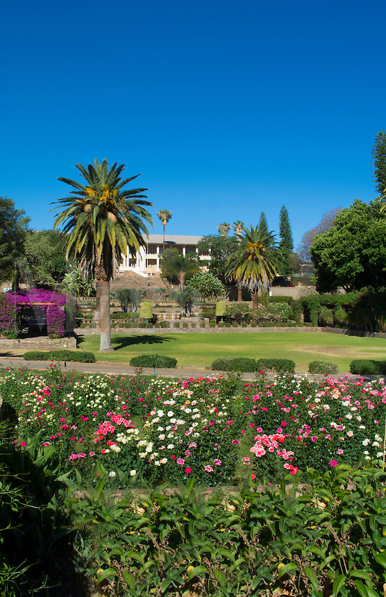 Windhoek Namibia Africa famous Parliament Gardens plants and green with fountain