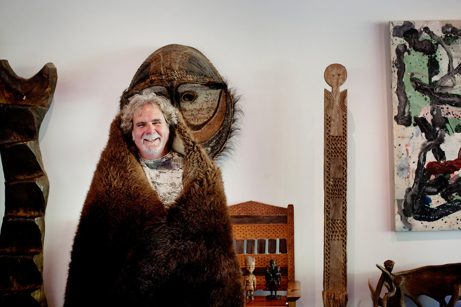 Los Angeles, California, November 14, 2009 - Portrait of Ernie Wolfe wearing a buffalo skin which he shot earlier this year. Wolfe owns the Ernie Wolfe Gallery and is the most reknowned African at dealer in the country. ..CREDIT: Daryl Peveto/LUCEO for The Wall Street Journal.Homefront - Ernie Wolfe #1348.
