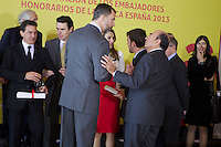 Spain's crown Prince Felipe and Princess Letizia talk to actor Antonio Banderas, formula one driver Fernando Alonso and Banco Santander chairman Emilio Botin ambassador of the Brand Spain after a ceremony. February 12, 2013. (ALTERPHOTOS/Alvaro Hernandez) /NortePhoto