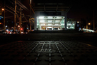 Night landscape view of the entrance to a Shanghai Metro Station in Shanghai, China.  © LAN