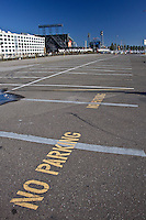 Parking spaces outlined with No Parking instructions - the lot across from AT&T Park, home of the San Francisco Giants the day they won the 2010 World Series, but not in San Francisco.