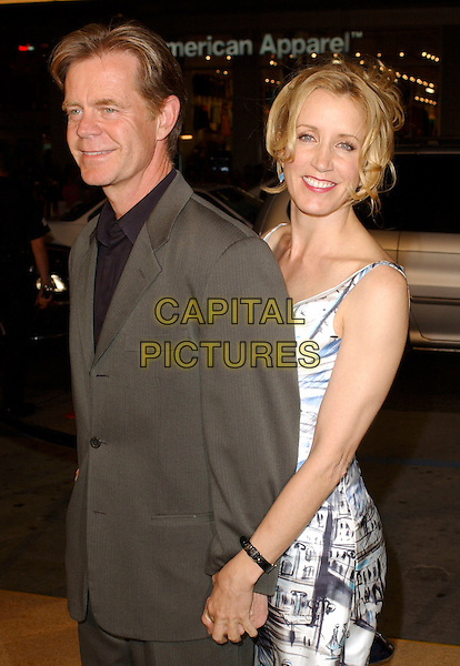 "WILLIAM H. MACY & FELICITY HUFFMAN.Attend Paramount Pictures' Los Angeles Premiere of ""Sahara"" held at The Grauman's Chinese Theatre in Hollywood, Los Angeles, California, USA,.April 4th 2005..half length married husband wife touching macey.Ref: DVS.www.capitalpictures.com.sales@capitalpictures.com.©Debbie VanStory/Capital Pictures"