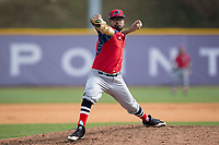 NJIT Highlanders relief pitcher Aquib Ramkishun (10) in action against the High Point Panthers during game one of a double-header at Williard Stadium on February 18, 2017 in High Point, North Carolina.  The Panthers defeated the Highlanders 11-0.  (Brian Westerholt/Four Seam Images)