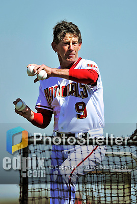 28 February 2010: Washington Nationals Bullpen Coach Jim Lett tosses batting practice during Spring Training at the Carl Barger Baseball Complex in Viera, Florida. Mandatory Credit: Ed Wolfstein Photo