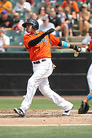 Bowie Baysox shortstop Manny Machado #3 bats during a game against the New Hampshire Fisher Cats at Prince George's Stadium on June 17, 2012 in Bowie, Maryland. New Hampshire defeated Bowie 4-3 in 13 innings. (Brace Hemmelgarn/Four Seam Images)