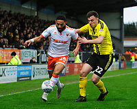 Blackpool's Liam Feeney vies for possession with Burton Albion's Kieran Wallace<br /> <br /> Photographer Chris Vaughan/CameraSport<br /> <br /> The EFL Sky Bet League One - Burton Albion v Blackpool - Saturday 16th March 2019 - Pirelli Stadium - Burton upon Trent<br /> <br /> World Copyright &copy; 2019 CameraSport. All rights reserved. 43 Linden Ave. Countesthorpe. Leicester. England. LE8 5PG - Tel: +44 (0) 116 277 4147 - admin@camerasport.com - www.camerasport.com
