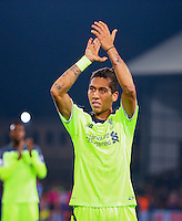 Roberto Firmino of Liverpool celebrates his teams win with the fans during the EPL - Premier League match between Crystal Palace and Liverpool at Selhurst Park, London, England on 29 October 2016. Photo by Steve McCarthy.