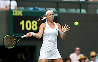 Kiki Bertens (NED) during her defeat by Julia Goerges (GER) in their Ladies' Quarter Final match<br /> <br /> Photographer Rob Newell/CameraSport<br /> <br /> Wimbledon Lawn Tennis Championships - Day 8 - Tuesday 10th July 2018 -  All England Lawn Tennis and Croquet Club - Wimbledon - London - England<br /> <br /> World Copyright &not;&copy; 2017 CameraSport. All rights reserved. 43 Linden Ave. Countesthorpe. Leicester. England. LE8 5PG - Tel: +44 (0) 116 277 4147 - admin@camerasport.com - www.camerasport.com
