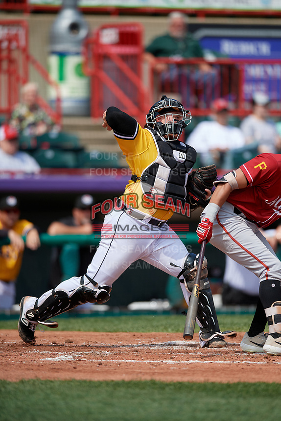 Erie SeaWolves catcher Kade Scivicque (33) throws down to second base during an Eastern League game against the Altoona Curve and on June 4, 2019 at UPMC Park in Erie, Pennsylvania.  Altoona defeated Erie 3-0.  (Mike Janes/Four Seam Images)